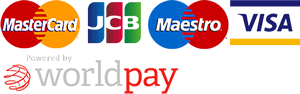Powered by WorldPay MasterCard, JCB, Maestro, Visa